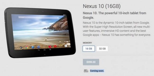Google Nexus 10  в Google Play