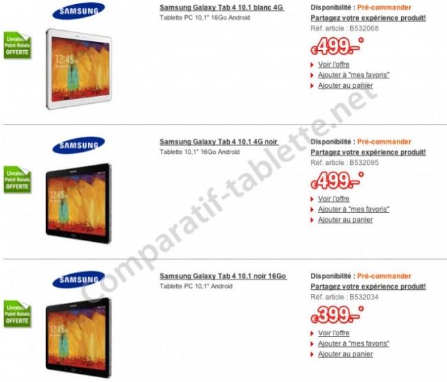 французские цены на Samsung Galaxy Tab 4 10.1