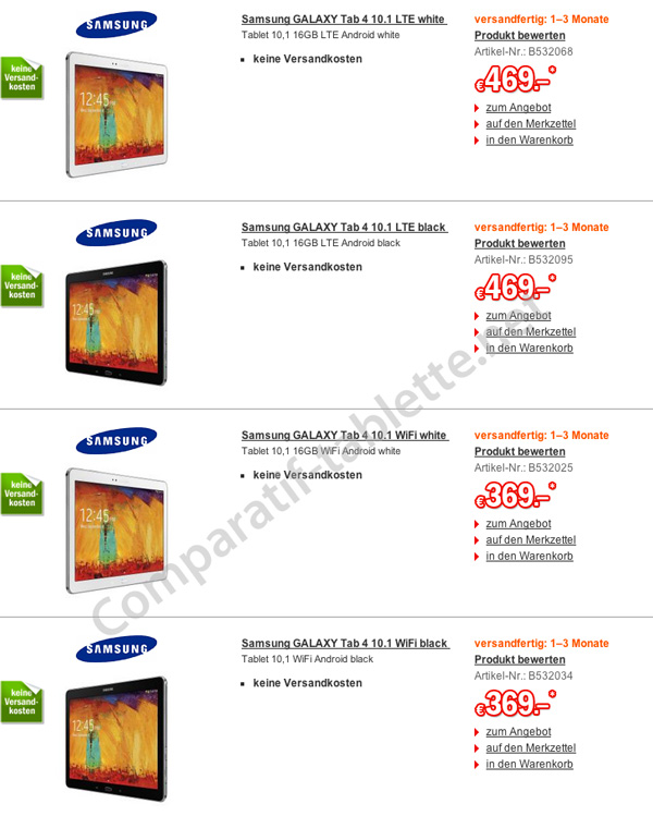немецкие цены на Samsung Galaxy Tab 4 10.1