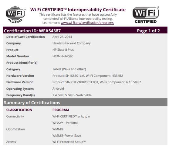сертификация HP Slate 8 Plus