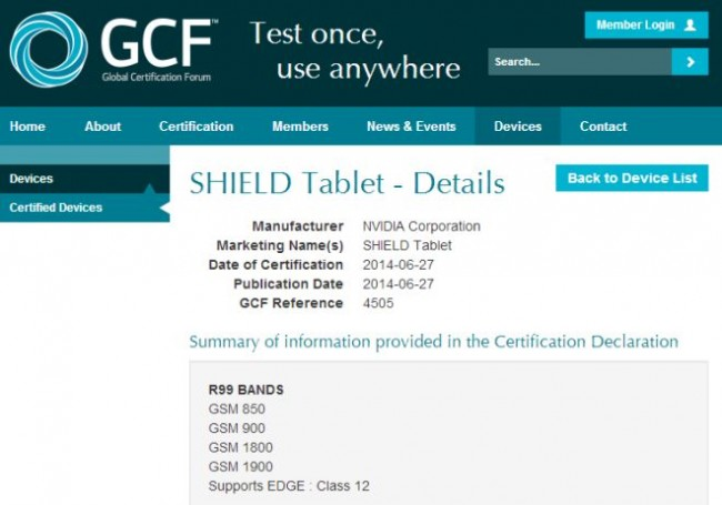 Nvidia Shield on GCF site