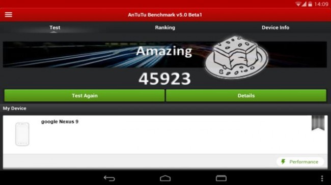 HTC Nexus 9  впечатлил в тесте AnTuTu