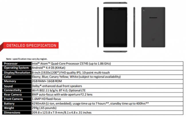 Lenovo Tab S8 Specs