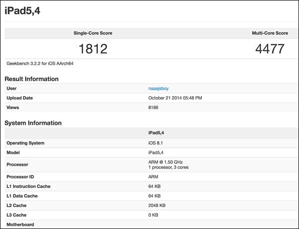 iPad Air 2 протестировали в GeekBench