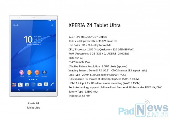 Возможно, Sony  Xperia Z4 Tablet Ultra
