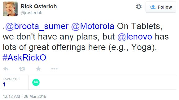 У Motorola нету планов на рынок планшетов