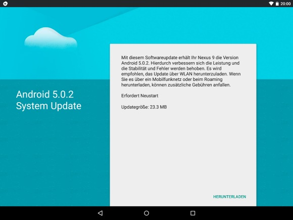 HTC Nexus 9 получил Android 5.0.2