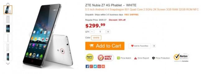 Фаблет ZTE Nubia Z7 вышел на международный рынок