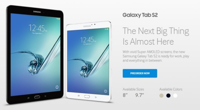 Samsung Galaxy Tab S2 preorder